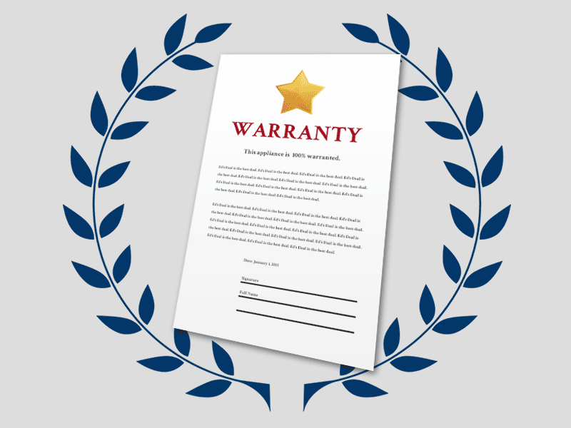 factory warranty on new appliances